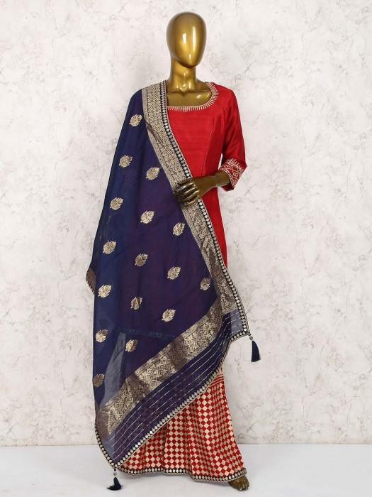 Lovely Red Raw Silk Fabric Festive