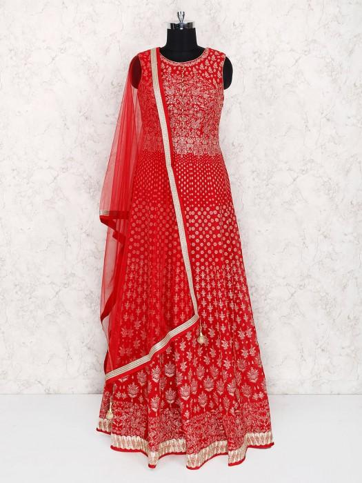 Lovely Red Georgette Floor Length Anarkali Suit
