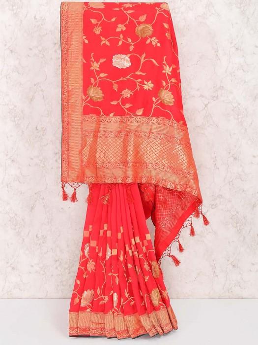 Lovely Red Hue Muga Silk Fabric Saree