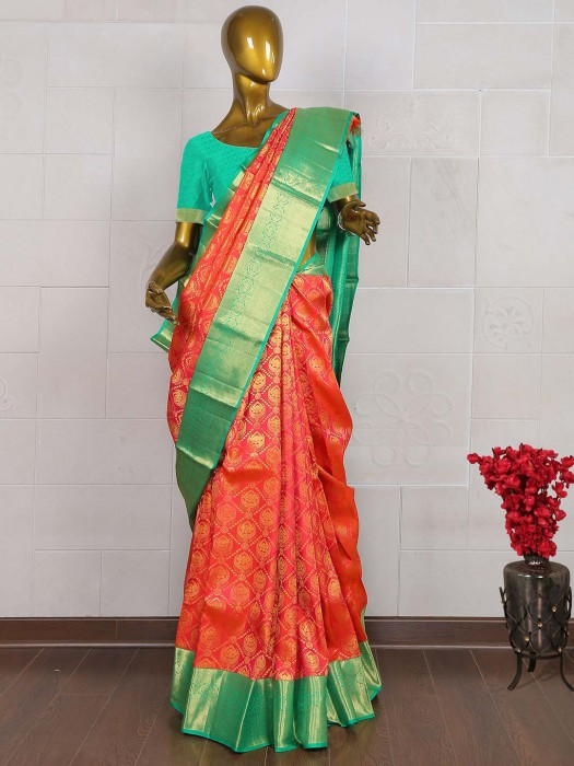 Lovely Red Kanjivaram Designer Saree
