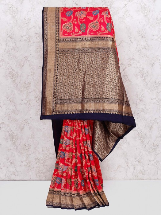 Lovely Red Wedding Saree In Semi Silk Fabric