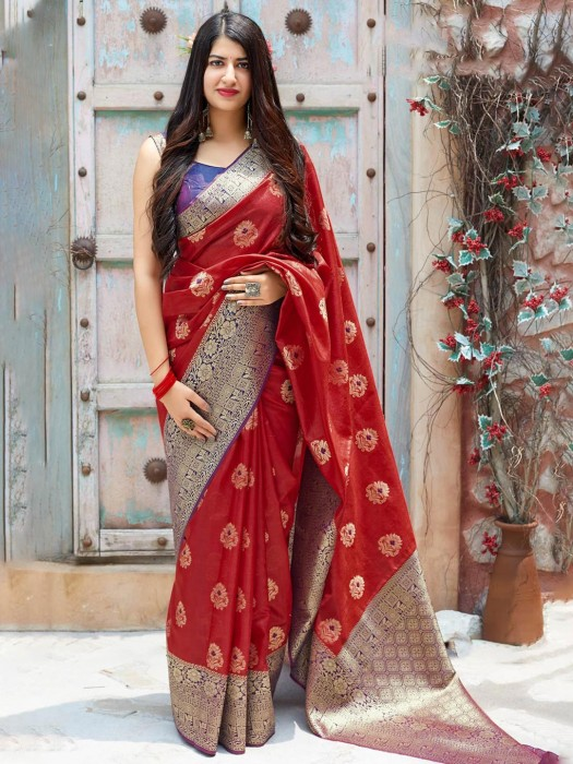 Lovely Red Zari Weaving Banarasi Silk Saree