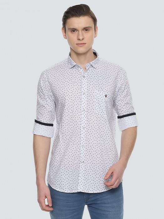 LP Cotton Leaf Printed White Casual Shirt