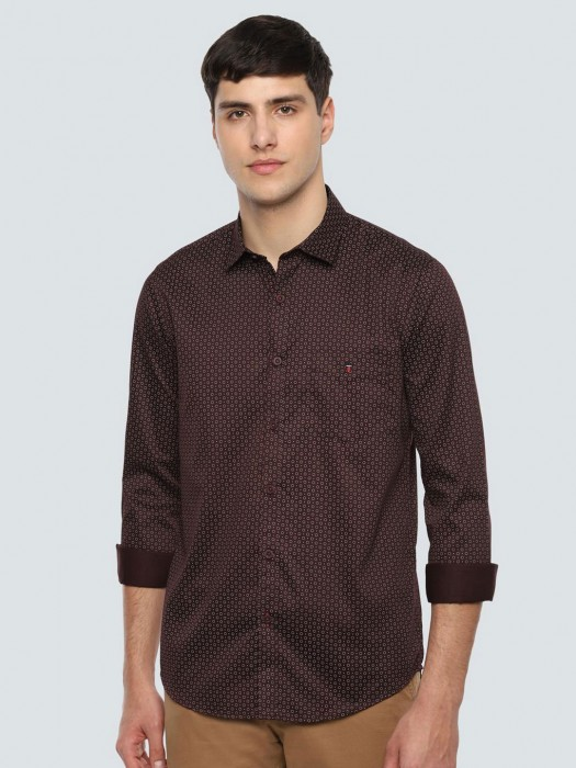 LP Polka Dot Brown Casual Wear Shirt