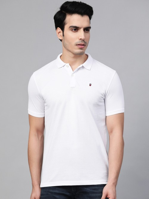 LP Solid White Cotton Polo Neck T-shirt