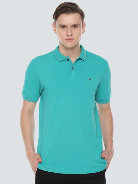 LP Sport Green Solid Polo Neck T-shirt