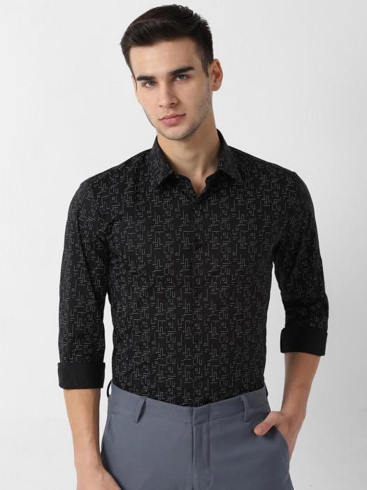 LP Sport Black Printed Cotton Shirt