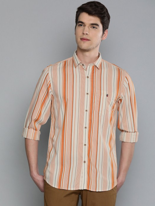 LP White And Orange Stripe Cotton Shirt