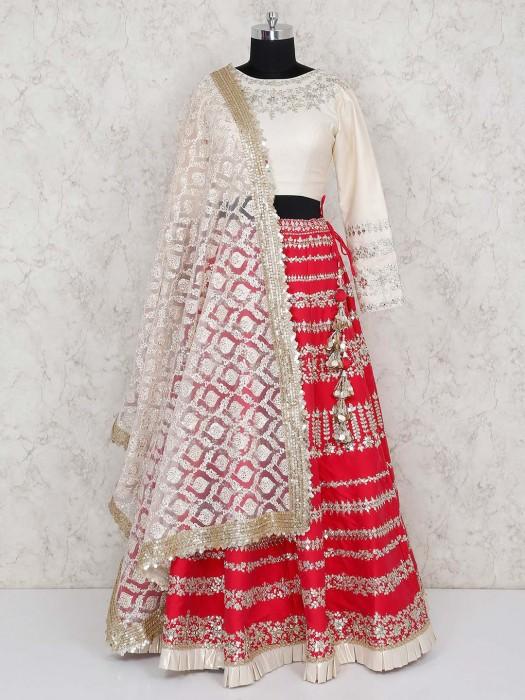 Magenta And Cream Hue Cotton Silk Lehenga Choli