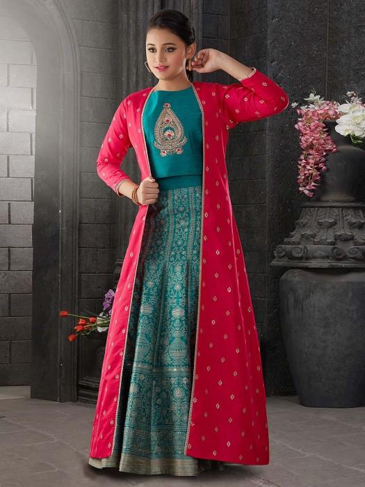 Magenta And Green Hue Jacket Style Lehenga Choli In Raw Silk