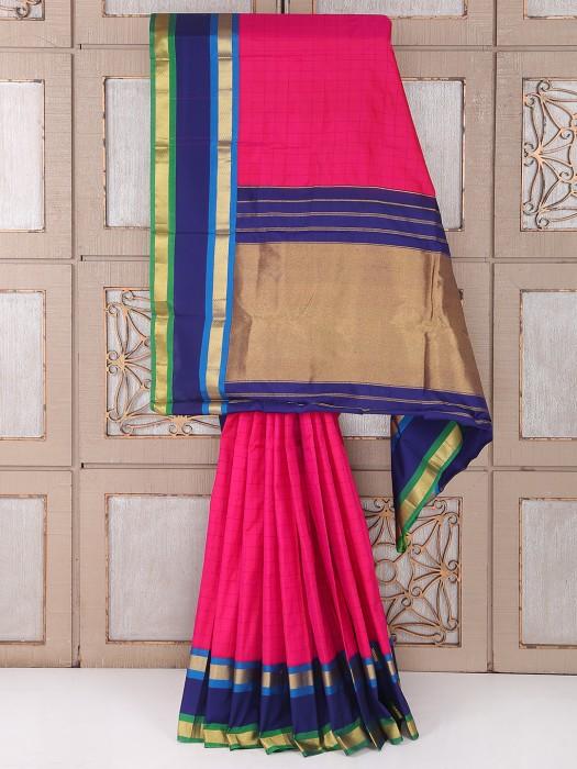Magenta And Purple Color Silk Fabric Saree
