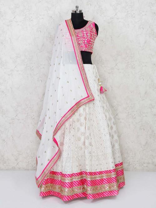 Magenta And White Lucknowi Wedding Lehenga Choli