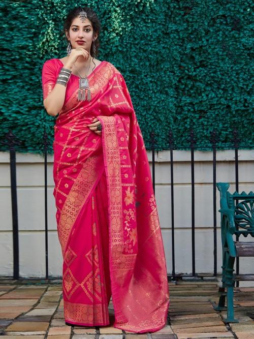 Magenta Banarasi Silk Adorable Saree