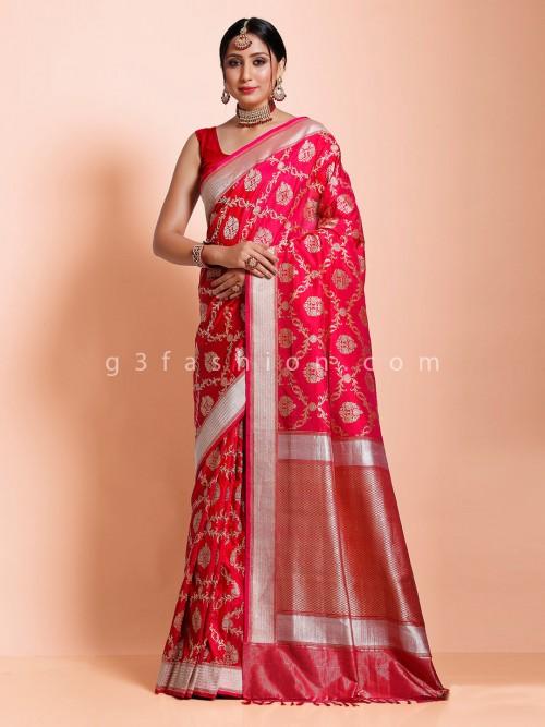 Magenta Banarasi Silk Bridal Wear Beautiful Saree