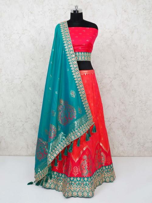 Magenta Banarasi Silk Semi Sttiched Lehenga Choli