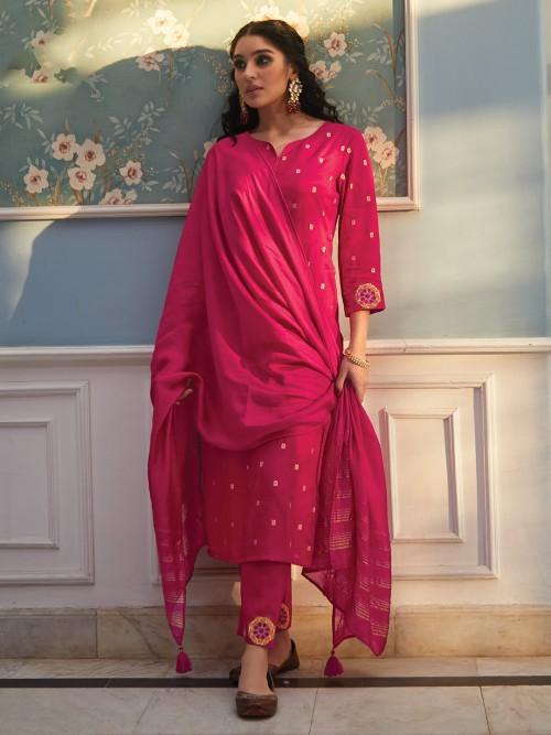 Magenta Cotton Keyhole Neck Punjabi Pant Suit