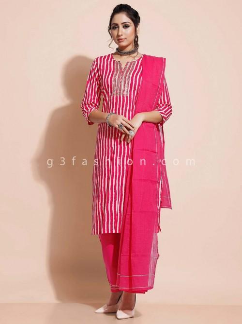 Magenta Cotton Salwar Kameez For Festives