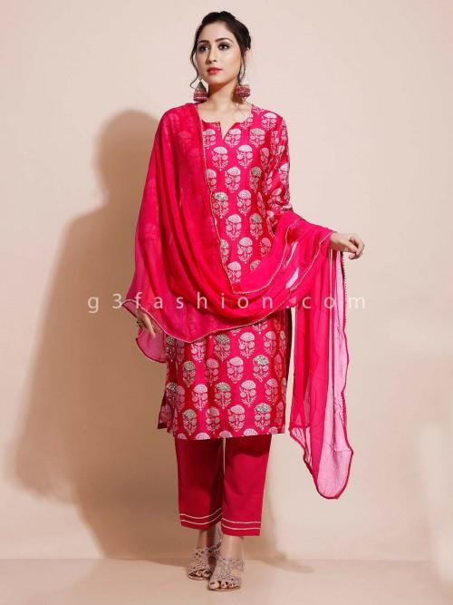 Magenta Cotton Salwar Suit For Festivals Days