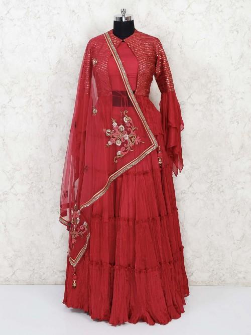 Magenta Cotton Silk Jacket Style Lehenga Choli