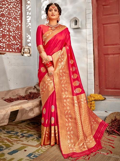 Magenta Handloom Banarasi Silk Wedding Wear Saree
