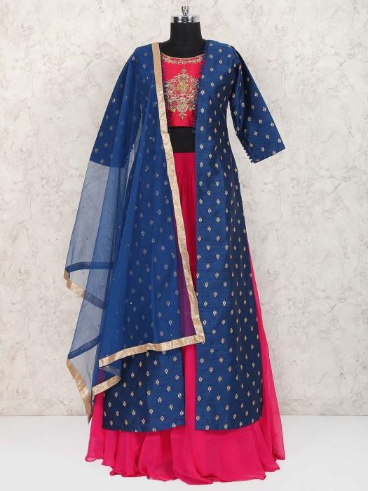 Magenta Hue Jacket Style Raw Silk Lehenga Choli
