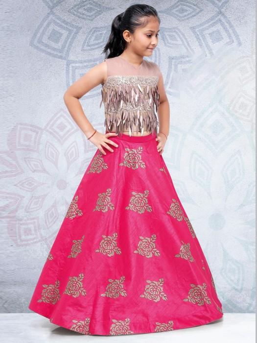 Magenta Hue Silk Fabric Festive Lehenga Choli