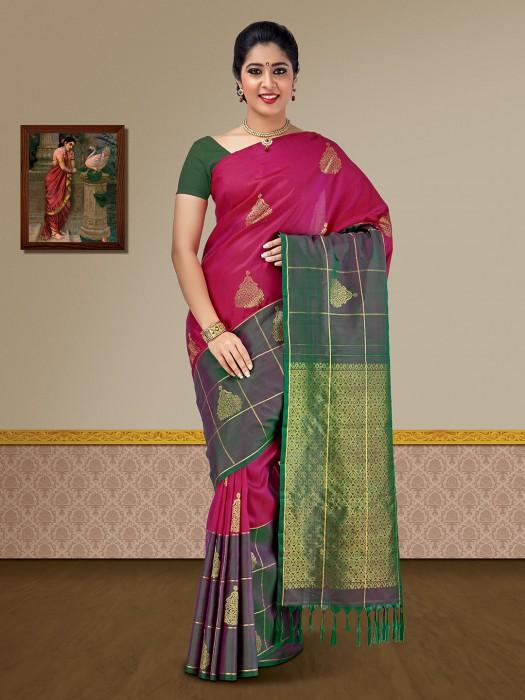 Magenta Pure Silk Kanjivaram Wedding Saree