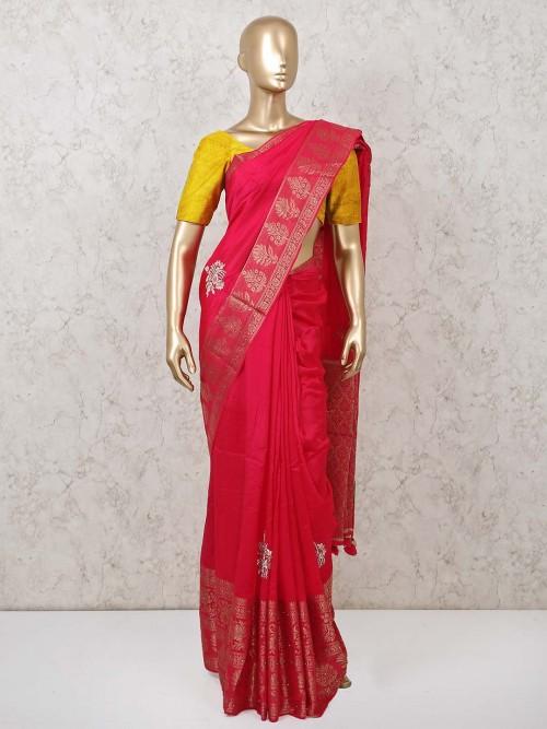 Magenta Saree In Dola Silk For Wedding