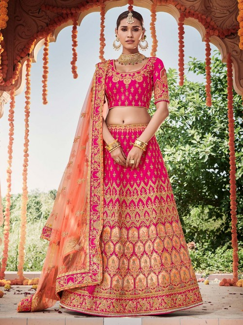 Magenta Silk Bridal Semi Stitched Designer Lehenga Choli For Wedding