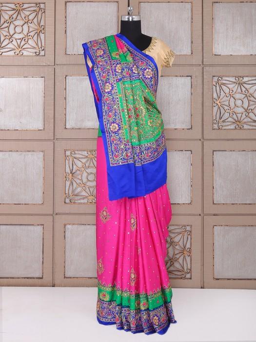 Magenta Silk Saree For Wedding Function