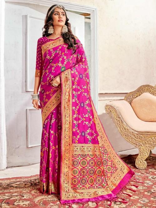 Magenta Wedding Banarasi Silk Saree