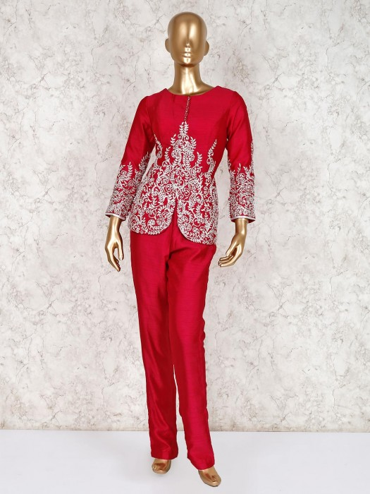 Magenta Zari Work Design Raw Silk Punjabi Pant Suit