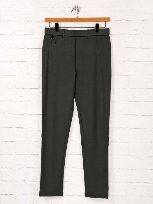 Maml Green Cotton Night Wear Track Pant