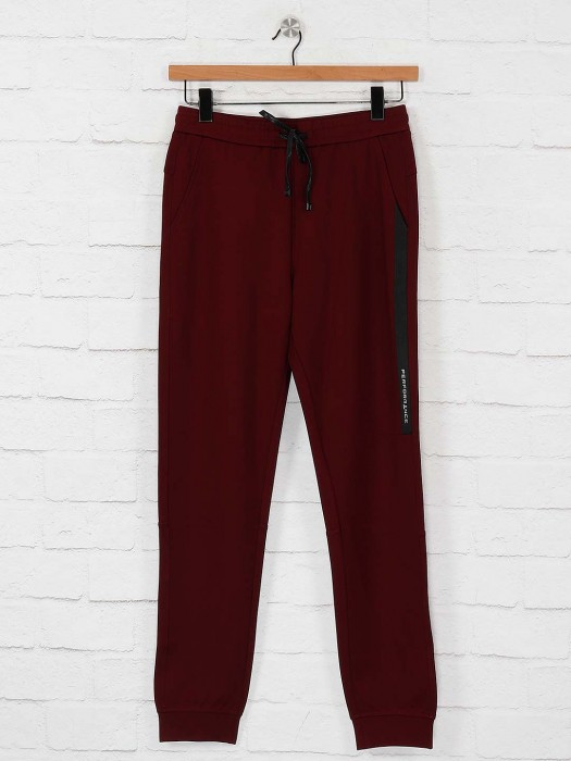 Maml Maroon Colored Solid Track Pant