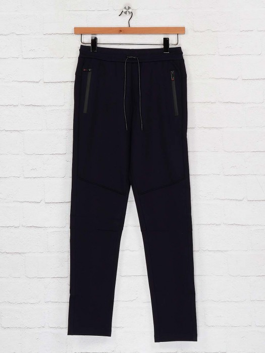 Maml Navy Hue Solid Cotton Track Pant