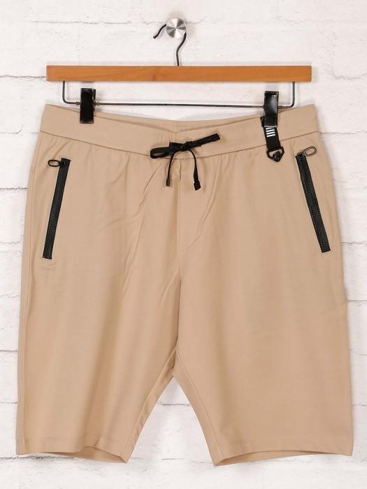 Maml Solid Beige Cotton Shorts