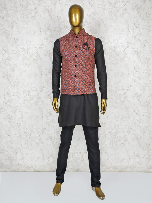 Maroon And Black Terry Rayon Fabric Waistcoat Set