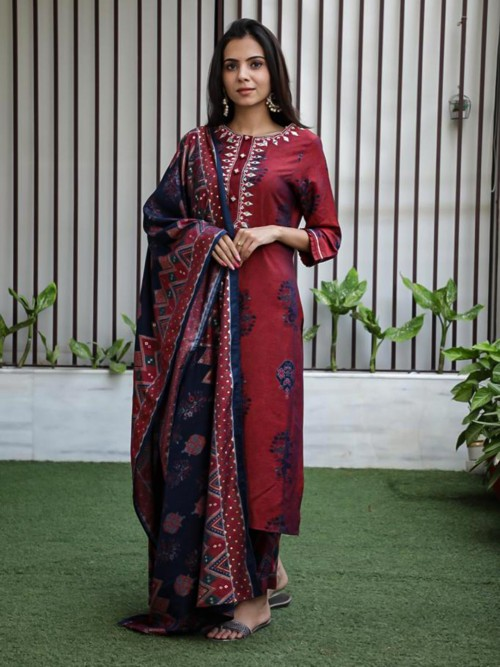 Maroon And Blue Printed Kurta Set For Festival