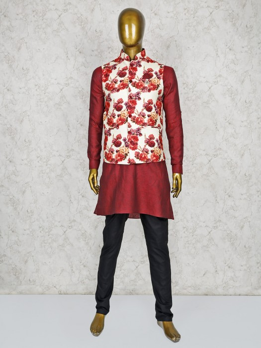 Maroon And Cream Color Stand Collar Waistcoat Set