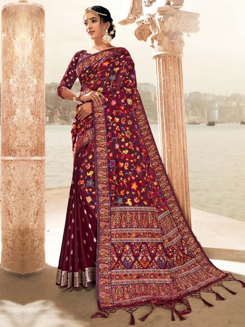 Maroon Banarasi Silk Saree In Wedding