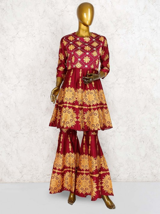Maroon Color Cotton Silk Printed Pakistani Punjabi Sharara Suit