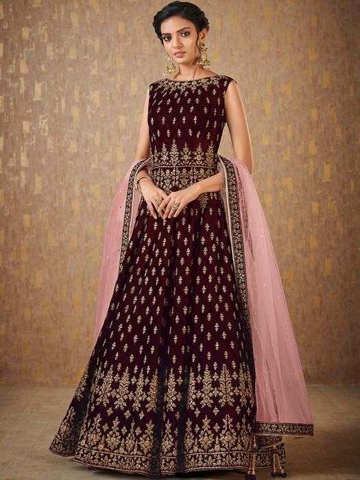 Maroon Color Velvet Anarkali Suit