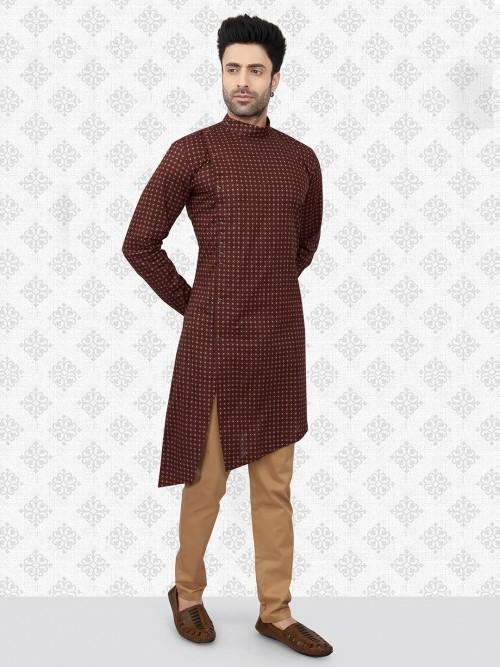 Maroon Cotton Festive Days Kurta Suit