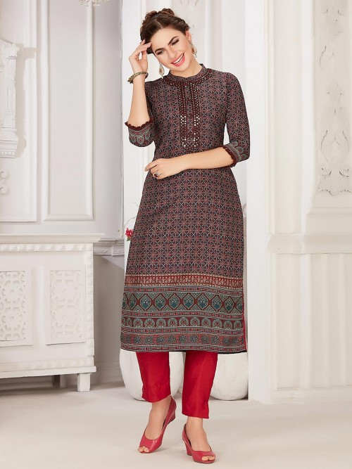 Maroon Cotton Festive Wear Kurti