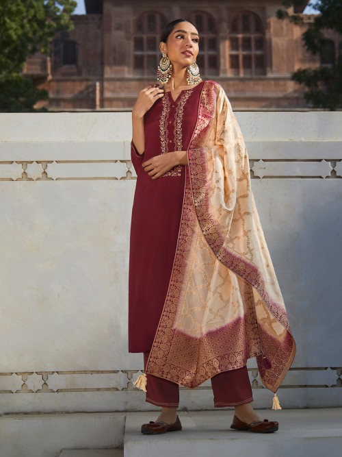 Maroon Cotton Punjabi Festive Wear Pant Suit