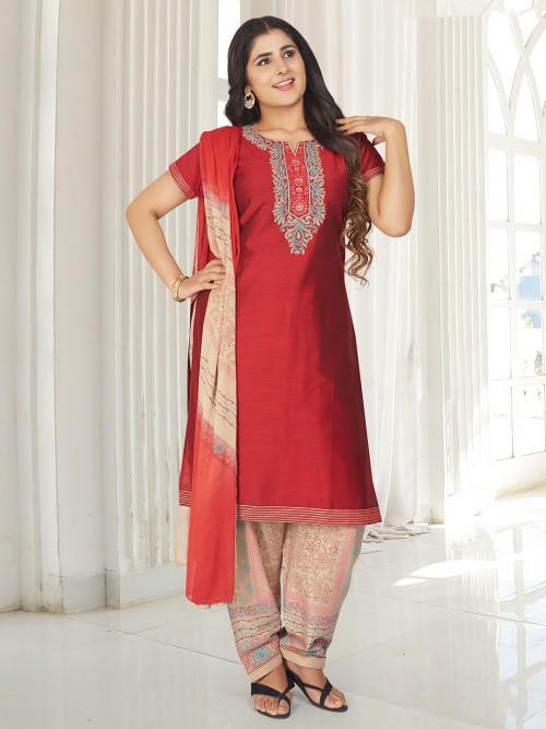 Maroon Cotton Punjabi Salwar Suit Festive Wear