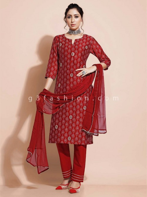Maroon Designer Pant Style Salwar Suit In Cotton