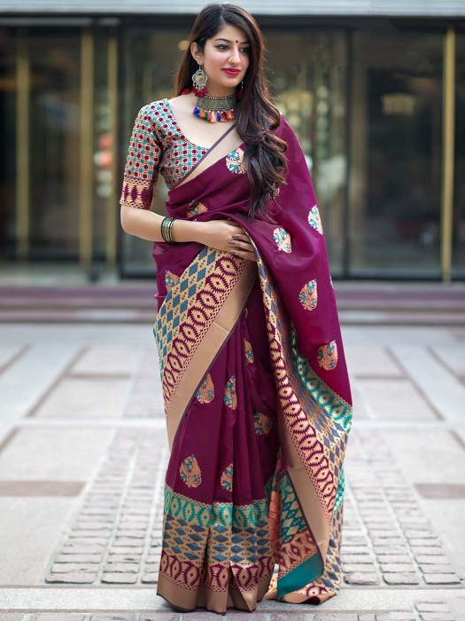 Maroon Hue Banarasi Silk Festive