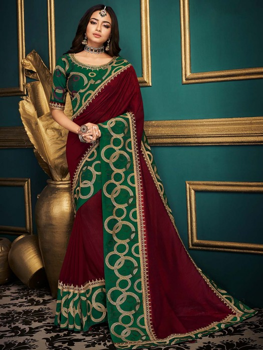 Maroon Hue Festive Cotton Silk Saree