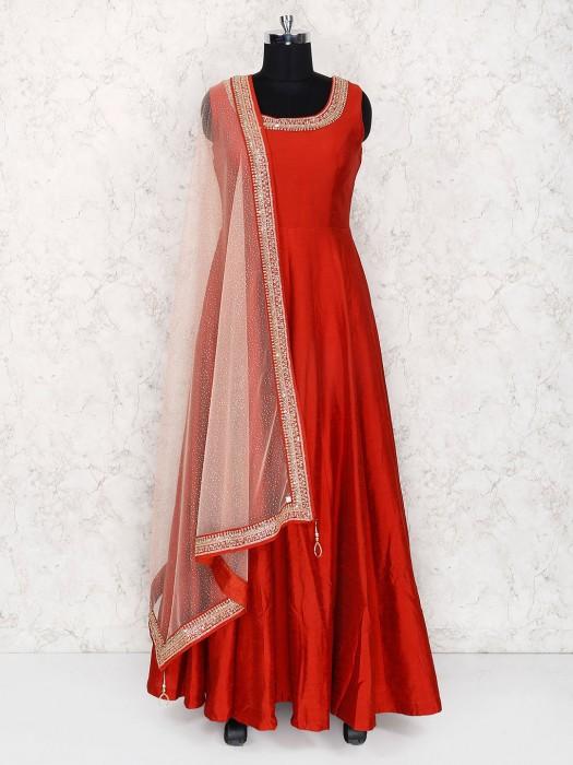 Maroon Hue Floor Length Anarkali Suit In Raw Silk